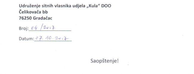 """Saopštenje Udruženja sitnih vlasnika udjela """"Kula"""" DOO Gradačac"""