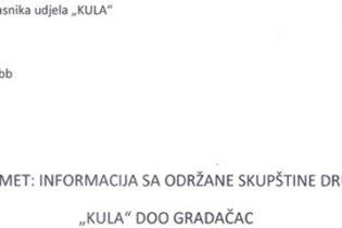 """Informacija Udruženja sitnih vlasnika udjela """"Kula"""" DOO Gradačac sa održane Skupštine društva"""