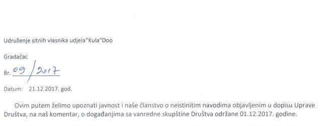 """Informacija Udruženja sitnih vlasnika udjela """"Kula"""" DOO Gradačac o događanjima sa vanredne Skupštine društva"""