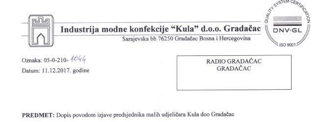 """Dopis IMK """"Kula"""" d.o.o. Gradačac povodom izjave malih udjeličara Kula doo Gradačac"""